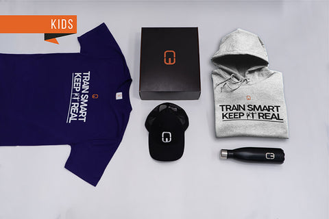 Train Smart Keep It Real Kid's Christmas Bundle with personalised Grey Hoodie and Purple Tee