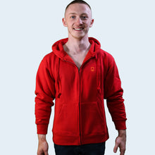 Model shot of Nile Wilson wearing an adult's red NW clothing logo Hoodie. Nile Wilson Clothing