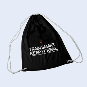 Black drawstring bag. With Train Smart Keep It Real logo on.