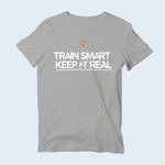 Mens Nile Wilson Clothing Grey T-Shirt. Train Smart Keep It Real logo on the chest. Writing in white and the NW logo in orange