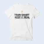 Mens Nile Wilson Clothing White T-Shirt. Train Smart Keep It Real logo on the chest. Writing in white and the NW logo in orange