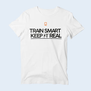Nile Wilson Clothing White Train Smart Keep It Real kids' T-Shirt. Nile Wilson logo in orange and white writing across the chest.