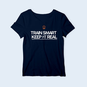 Women's Nile Wilson Clothing Navy T-Shirt. Train Smart Keep It Real logo on the chest. Writing in white and the NW logo in orange