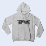 Nile Wilson Clothing Grey Kid's Hooded Top. Nile Wilson Logo in orange on the chest area, with the Train Smart Keep It Real Logo on the chest in black.