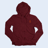 Nile Wilson Clothing Adult Burgundy Zip up hoodie with orange NW logo