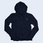 Nile Wilson Clothing Adult Navy Zip up hoodie with orange NW logo