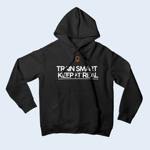 Nile Wilson Clothing Black Adult Hooded Top. Nile Wilson Logo in orange on the chest area, with the Train Smart Keep It Real Logo on the chest in white