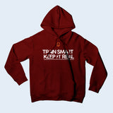 Nile Wilson Clothing Burgundy Adult Hooded Top. Nile Wilson Logo in orange on the chest area, with the Train Smart Keep It Real Logo on the chest in white