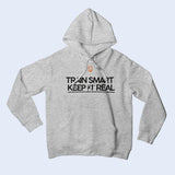 Nile Wilson Clothing Grey Adult Hooded Top. Nile Wilson Logo in orange on the chest area, with the Train Smart Keep It Real Logo on the chest in black