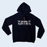 Nile Wilson Clothing Navy Adult Hooded Top. Nile Wilson Logo in orange on the chest area, with the Train Smart Keep It Real Logo on the chest in white