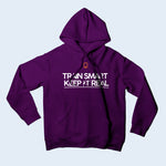 Nile Wilson Clothing Purple Adult Hooded Top. Nile Wilson Logo in orange on the chest area, with the Train Smart Keep It Real Logo on the chest in white