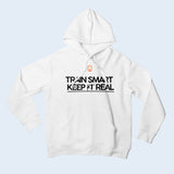 Nile Wilson Clothing White Adult Hooded Top. Nile Wilson Logo in orange on the chest area, with the Train Smart Keep It Real Logo on the chest in black.