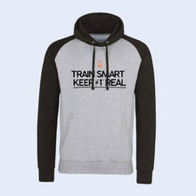 Nile Wilson Clothing Special edition adult's Train Smart Keep it Real logo Hoodie. Marl grey body and dark grey hood & sleeves