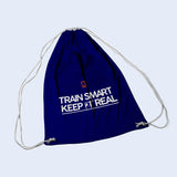 Royal Blue drawstring bag. With Train Smart Keep It Real logo on.