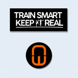 Train Smart Keep It Real sticker. Logo in white on black vinyl sticker. Also a circular black vinyl sticker with the Nile Wilson NW logo in orange.
