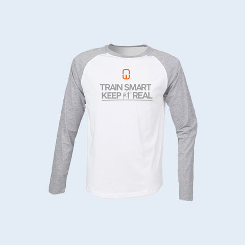 Long Sleeve Baseball Tee Train Smart Keep It Real - Kid's