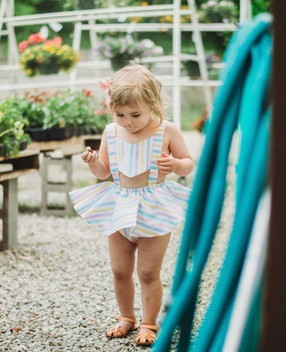 Pastel Stripes Skirted Romper