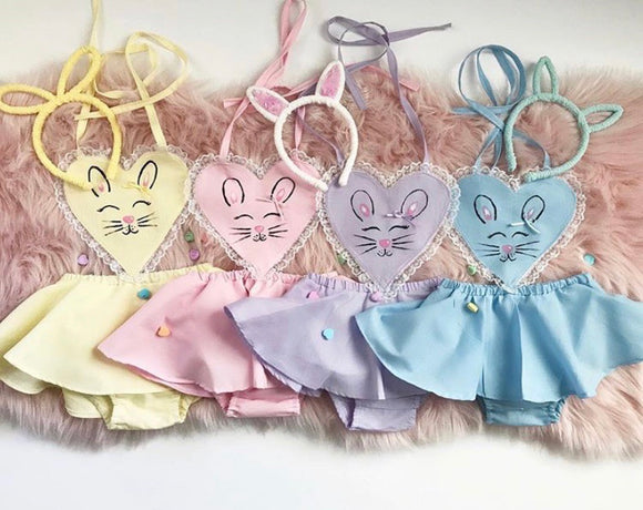 Hand Painted Bunny Heart Romper