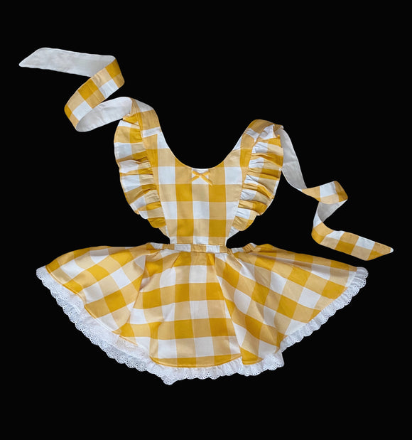 Yellow gingham fall pinafore