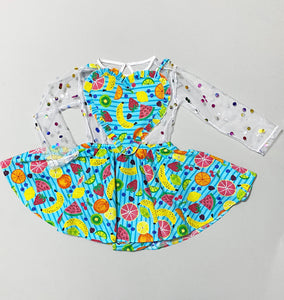 Fruit heart pinafore- dress only (blouse not included)