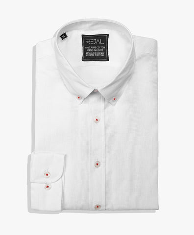Cotton Shirt White Dobby