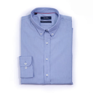 Classic Cotton Shirt Blue Micro Stripe