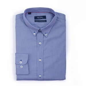 Classic Cotton Shirt D.Blue Micro Checks