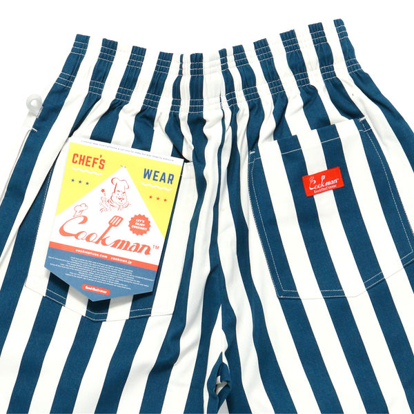 Cookman Chef Short Pants - Wide Stripe : Navy