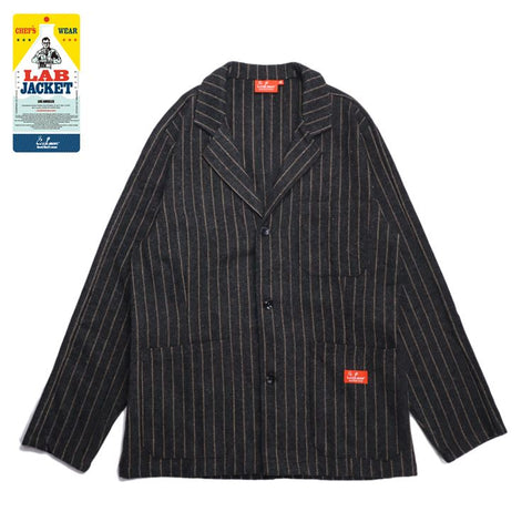 Cookman Lab Jacket - Wool Mix Stripe : Gray