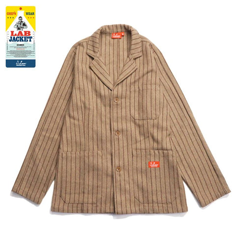Cookman Lab Jacket - Wool Mix Stripe : Beige