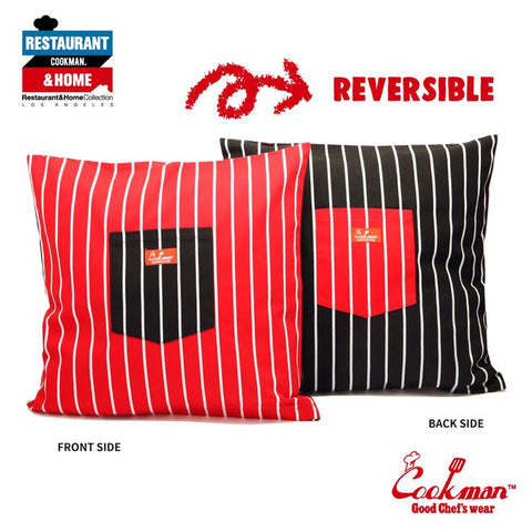 Pocket Cushion Cover (Reversible) - Stripe : Black & Red