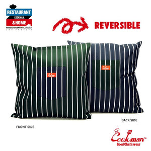 Pocket Cushion Cover (Reversible) - Stripe : D/Green & Navy