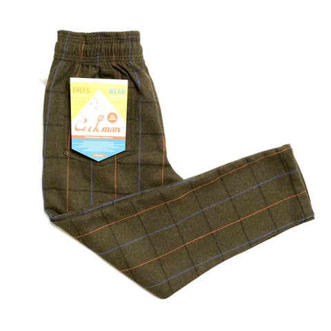 Cookman Chef Pants - Wool Mix Plaid : Olive Green