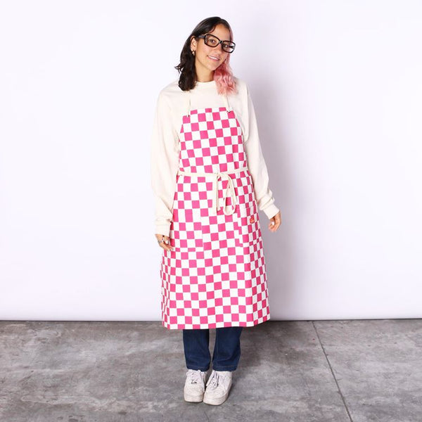Cookman Long Apron - Checker : Pink