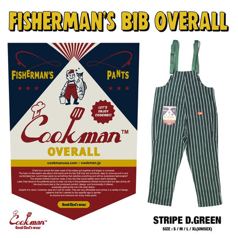 Fisherman's Bib Overall - Stripe : Dark Green