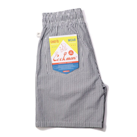 Cookman Chef Short Pants - Seersucker Stripe Navy
