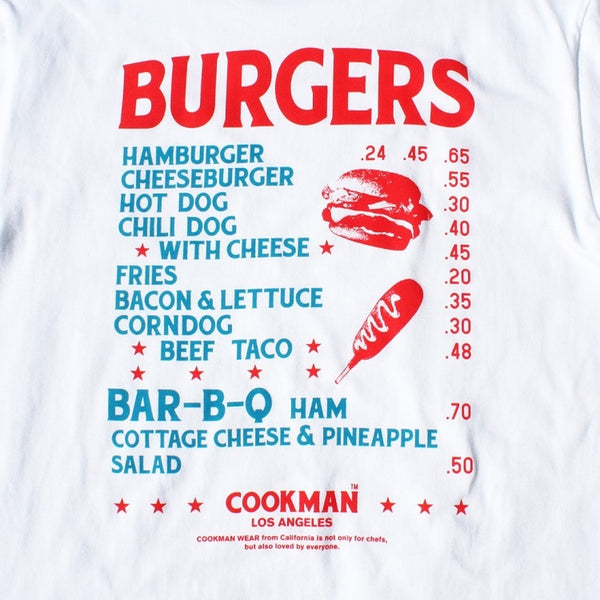 Cookman T-shirts - Burgers Menu - White