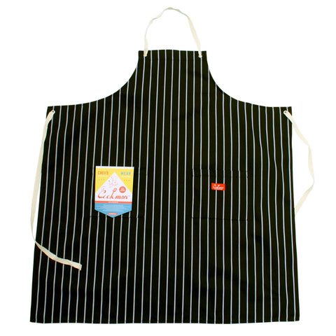 Cookman Long Apron - Pinstripe Black