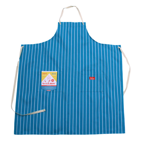 Cookman Long Apron - Pinstripe Light Blue