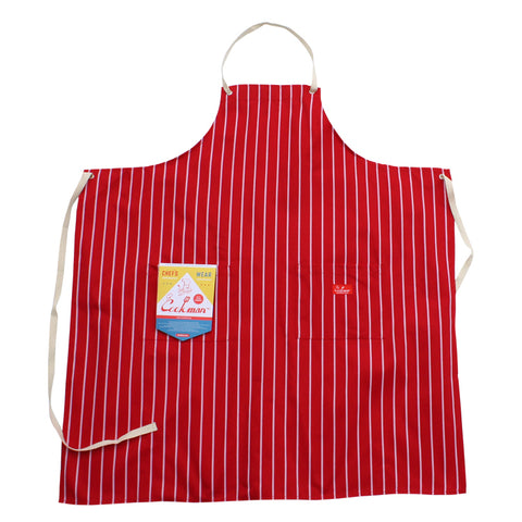 Cookman Long Apron - Pinstripe Red