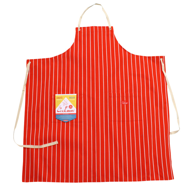 Cookman Long Apron - Pinstripe Orange