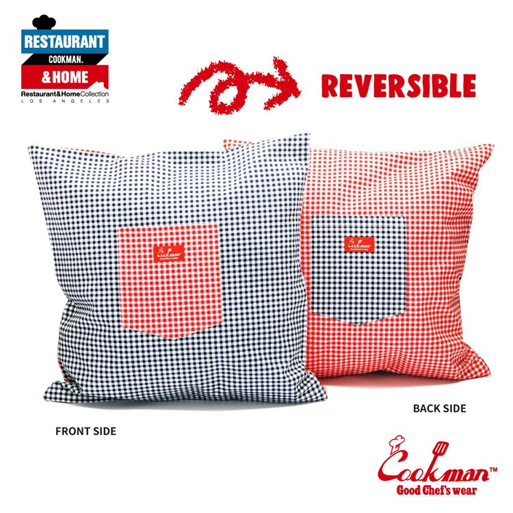 Pocket Cushion Cover (Reversible)  - Gingham : Red & Navy
