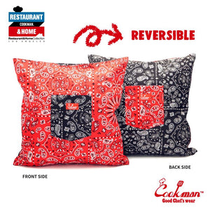 Pocket Cushion Cover (Reversible) - Paisley : Red & Black
