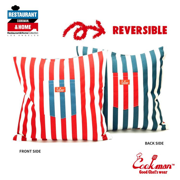 Pocket Cushion Cover (Reversible) - Wide Stripe : Navy & Red