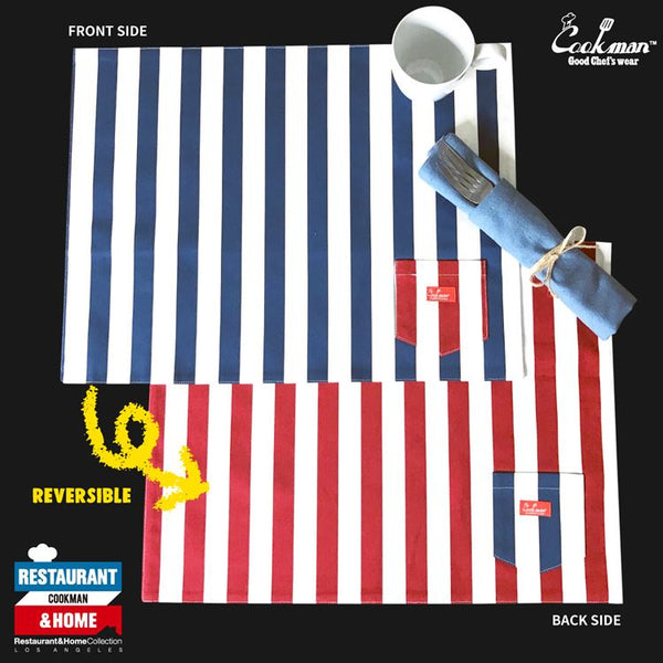 Pocket Placemat (Reversible) - Wide Stripe Navy & Red