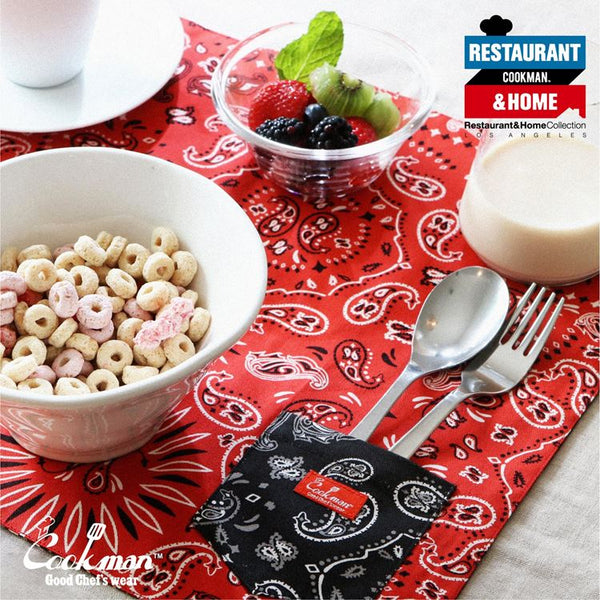 Pocket Placemat (Reversible) - Paisley Red & Black
