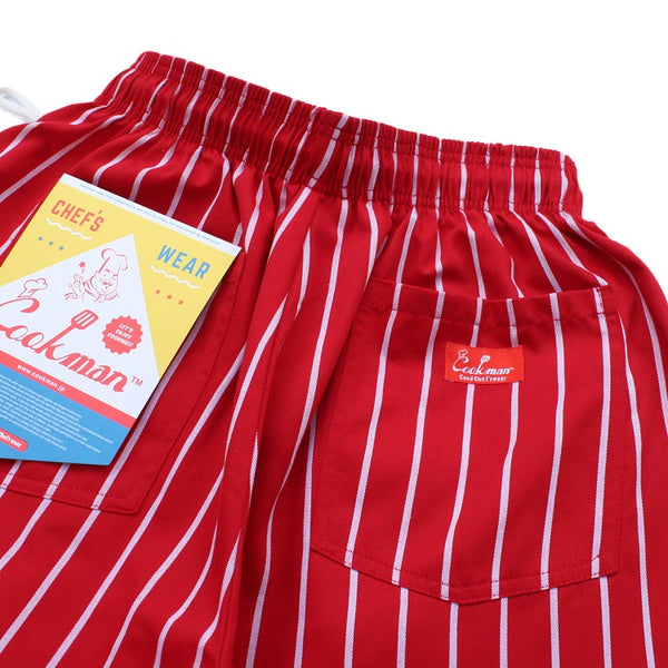 Cookman Chef Short Pants - Stripe : Red