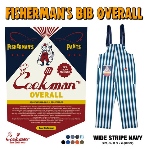 Fisherman's Bib Overall - Wide Stripe : Navy