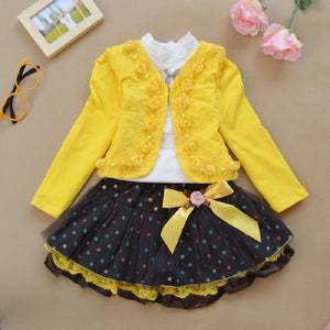 2018 rose spring Kids Girls Clothing Set Long Sleeve Blouse + Dress Cotton Baby Girls Suits Set Fashion Children Girl Clothes - Star Kidz Clothing