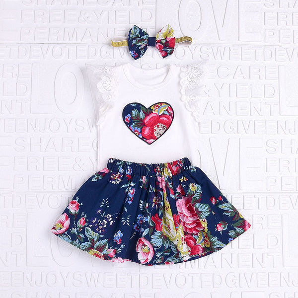Baby Boy Girl Clothing Set High Qulity Cotton Love Print Lace Short Sleeve Top + Floral Short Skirt+Hair Band 3PCS - Star Kidz Clothing